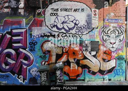 Hosier Lane, Famous Laneway Street Art (Graffiti) of Melbourne - Stock Photo