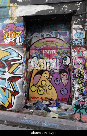 Hosier Lane, Famous Laneway Street Art (Graffiti) of Melbourne - Stock Photo