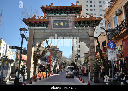 BUENOS AIRES - JULY 7, 2016: chinese arch at Chinatown on July 7, 2016, at Belgrano neighborhood, Buenos Aires. The arch with the inscription 'Chinato - Stock Photo