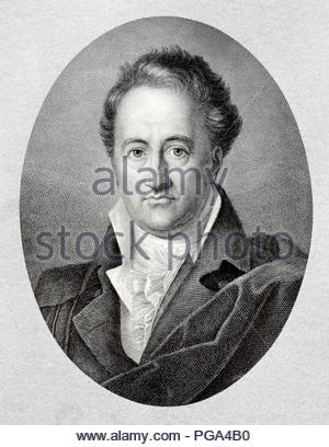 Johann Wolfgang von Goethe portrait 1749 – 1832 was a German writer and statesman. His works include four novels; epic and lyric poetry; prose and verse dramas; memoirs; an autobiography; literary and aesthetic criticism; and treatises on botany, anatomy, and colour, antique illustration from 1880 - Stock Photo