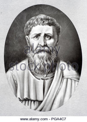 Saint Augustine of Hippo 354 – 430 was a Roman African, early Christian theologian and philosopher from Numidia whose writings influenced the development of Western Christianity and Western philosophy. He was the bishop of Hippo Regius in north Africa and is viewed as one of the most important Church Fathers in Western Christianity for his writings in the Patristic Era, antique illustration from 1880 - Stock Photo