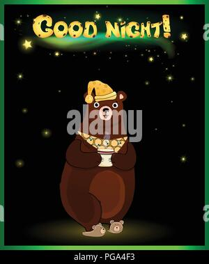Vector illustration of cute cartoon bear character in sleeping hat and slippers, holding cup with hot drink on night background with glowing stars on  - Stock Photo