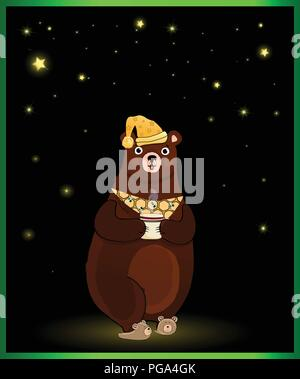 Vector illustration of cute cartoon bear character in sleeping hat and slippers, holding cup with hot drink on night background with glowing stars - Stock Photo