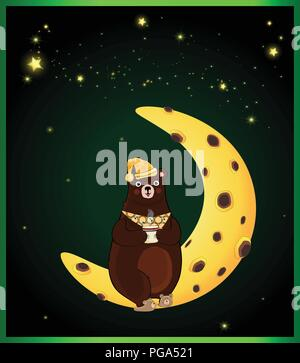 Vector illustration of kawaii cartoon bear character in sleeping hat and slippers, holding cup with drink sitting on moon on night sky background with - Stock Photo