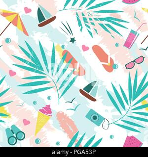 Summer time vector seamless pattern with colorful beach elements isolated on white background. Summer background print. - Stock Photo