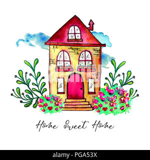 Sweet home label. Cute watercolor old building with branches and herbs isolated on white background. Hand painted card with happy house and flowers. - Stock Photo