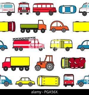 Cute seamless background with cartoon cars. Transport pattern. Vector illustration - Stock Photo