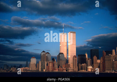 Vintage  1988 View of Lower Manhattan Skyline with Twin Towers of World Trade Center, NYC, USA - Stock Photo
