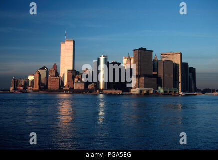 Vintage 1989 View of Lower Manhattan Skyline with Twin Towers of World Trade Center, NYC, USA - Stock Photo