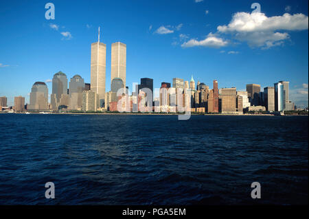 Vintage 1995 View of Lower Manhattan Skyline with Twin Towers of World Trade Center, NYC, USA - Stock Photo