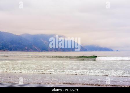 Ocean, surf, and coastline from Crescent Beach. Crescent City, California, USA. - Stock Photo