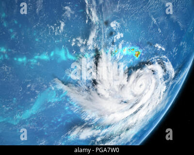 Hurricane from spce near Hawaii in August 2018. 3D illustration. Elements of this image furnished by NASA. - Stock Photo