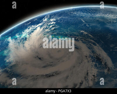 Hurricane Lane near Hawaii. 3D illustration. Elements of this image furnished by NASA. - Stock Photo