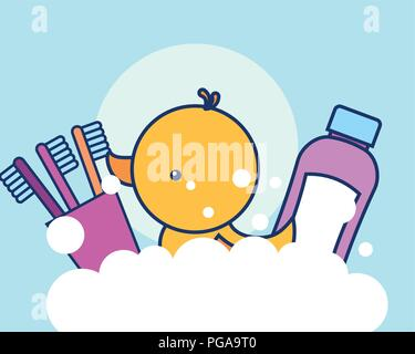toothpaste toothbrushes and rubber duck bubbles - Stock Photo