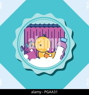 rubber duck toothbrushes and shampoo banner bathroom - Stock Photo