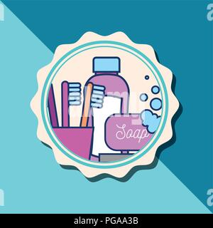shampoo bottle soap toothbrushes bubbles banner bathroom - Stock Photo