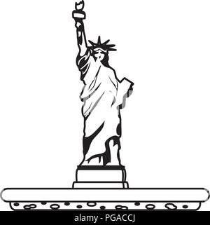 line statue liberty sculpture traditional history - Stock Photo