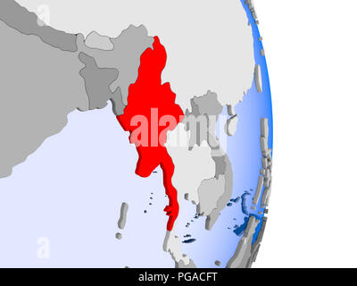 Myanmar in red on model of political globe with transparent oceans. 3D illustration. - Stock Photo