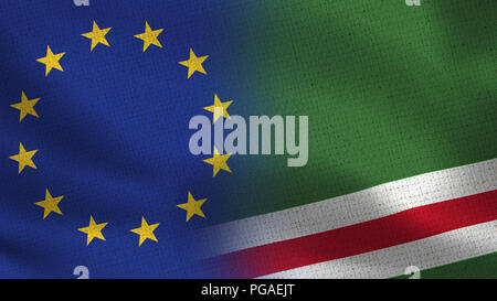 European Union and Chechen Republic Flags - Two Flags Together - EU - Stock Photo