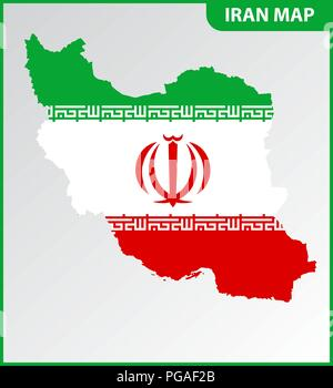 The detailed map of Iran with National Flag - Stock Photo