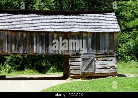 Cades Cove National Park brought us to these beautiful old cabins and barns - love the angles and the wood tones - Stock Photo