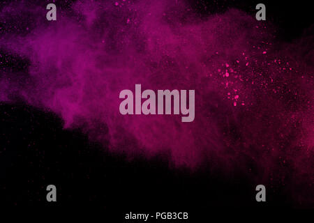 Abstract pink powder explosion on black background. abstract colored powder splatted, Freeze motion of pink powder exploding. - Stock Photo