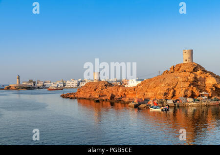 View of the popular lighthouse and watch tower in sur oman - Stock Photo