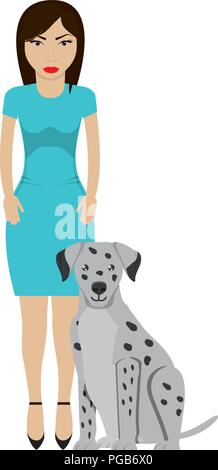 Cute dalmatian dog and Young woman wearing casual clothes  - Stock Photo