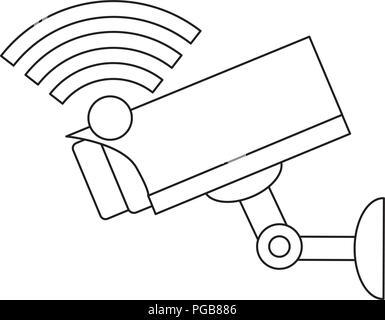 wifi symbol and surveillance camera icon over white background, vector illustration - Stock Photo