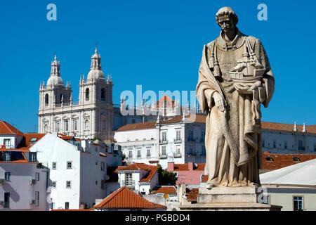 Statue to Sao Vicente and the church of Sao Vicente de Fora, Lisbon, Portugal. - Stock Photo