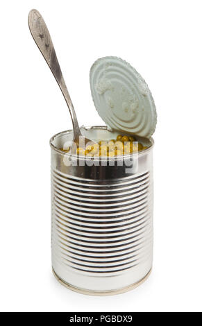 Preserved peas vegetable in metal spoon closeup isolated on a white background - Stock Photo