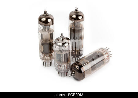 Glass vacuum radio tubes  Isolated image on white background - Stock Photo