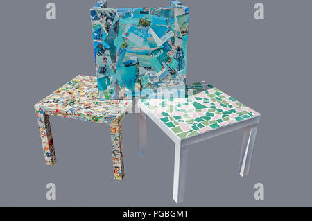 three square tables printed with different patterns - Stock Photo