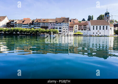 The village of Eglisau and the river Rhine, Switzerland - Stock Photo