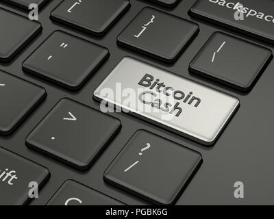 3d render of computer keyboard with BITCOIN CASH button. Cryptocurrencies concept. - Stock Photo