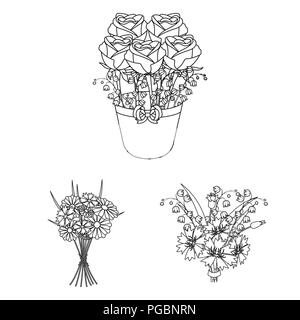 A bouquet of fresh flowers outline icons in set collection for design. Various bouquets vector symbol stock  illustration. - Stock Photo