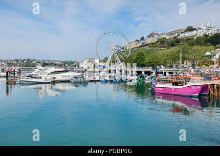 21 May 2018: Torquay, Devon, England, UK - The marina and English Riviera Wheel on a sunny spring day. - Stock Photo