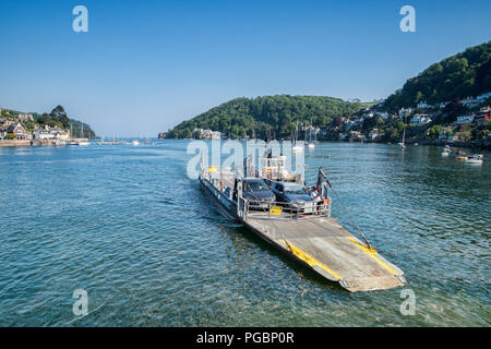 23 May 2018: Dartmouth, Devon, UK - The Lower Ferry, on its jouirney across the River Dart from Kingswear. - Stock Photo
