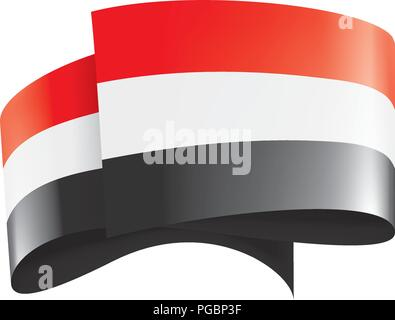 Yemeni flag, vector illustration on a white background. - Stock Photo
