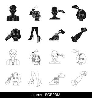 Curling hair, high heels and other  icon in black,outline style. A pack of cigarettes, a bottle of champagne in hand icons in set collection. - Stock Photo