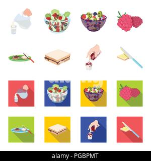 Dessert with cream, a sandwich and other food. Food set collection icons in cartoon,flat style vector symbol stock illustration . - Stock Photo