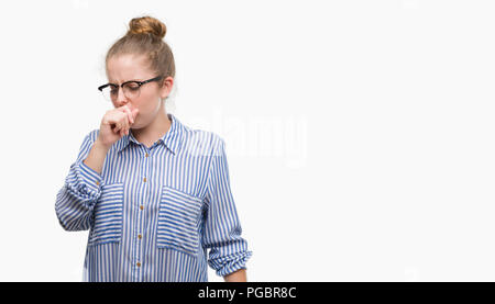 Young blonde business woman feeling unwell and coughing as symptom for cold or bronchitis. Healthcare concept. - Stock Photo