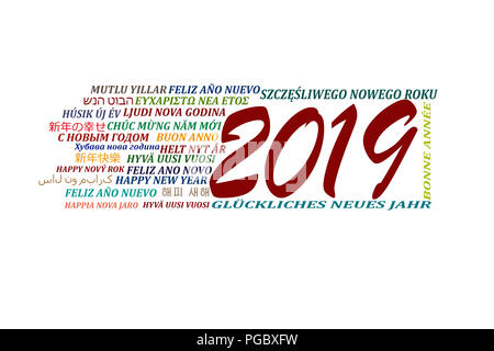 Happy new year 2019 in different languages of the world on a white background - Stock Photo