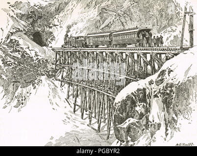 First passenger train over The White Pass and Yukon Route, in pursuit of Gold, Klondike Gold Rush - Stock Photo