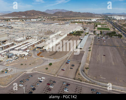 Aerial view of the Ford Motor Company automotive company in the Hermosillo industrial park. Automotive industry. Hermosillo Stamping and Assembly is an automobile assembly plant of Ford Motor Company located in Hermosillo, Sonora, Mexico. The plant currently assembles the Ford Fusion and Lincoln MKZ, Lincoln models for the North American market. Ford is an American multinational automaker . Photo: (NortePhoto / LuisGutierrez) ... keywords: dji, aerial, djimavic, mavicair, aerial photo, aerial photography, urban landscape, aerial photography, aerial photo, urban, urban, urban, plane, architectu - Stock Photo