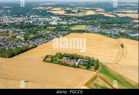 Bare fields, early harvest by drought and dryness next to the highway A44, Hetterscheidt, Holy House, Ruhr Area, Nordrhein-Westfalen, Germany, DEU, Eu - Stock Photo