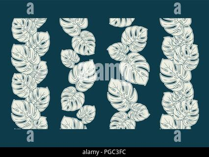 Monstera seamless border divider set or collection of vertical decorative repeating ornament in white and blue - Stock Photo