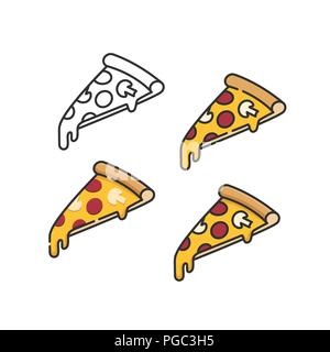 Pizza slices set with melting cheese linear isometric minimal vector illustration icons collection isolated on white - Stock Photo