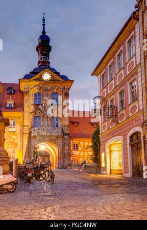 BAMBERG, GERMANY - JUNE 19: Illuminated Altes Rathaus in Bamberg, Germany on June 19, 2018. The historic town hall was built in the 14th century. - Stock Photo