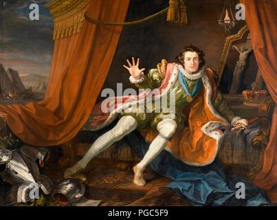 David Garrick as Richard III - William Hogarth 1745 - Stock Photo